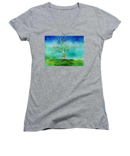 Twilight Tree Women's V-Neck T-Shirt
