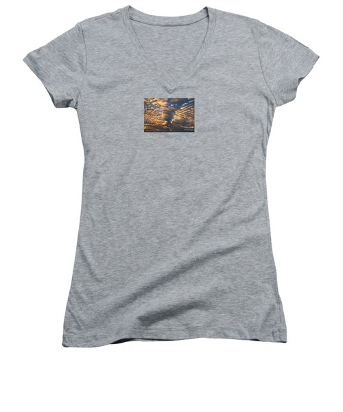 Twisted Sunset Women's V-Neck T-Shirt (Junior Cut) by Janice Westerberg