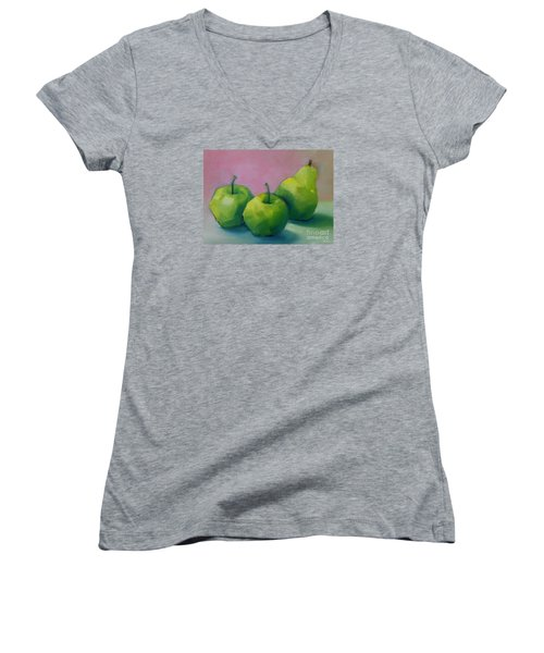 Two Apples And One Pear Women's V-Neck T-Shirt (Junior Cut) by Michelle Abrams