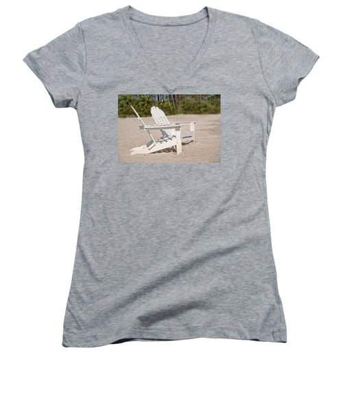 Women's V-Neck T-Shirt (Junior Cut) featuring the photograph Two Beach Chairs by Charles Beeler