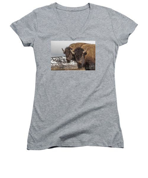Two Bison Women's V-Neck (Athletic Fit)