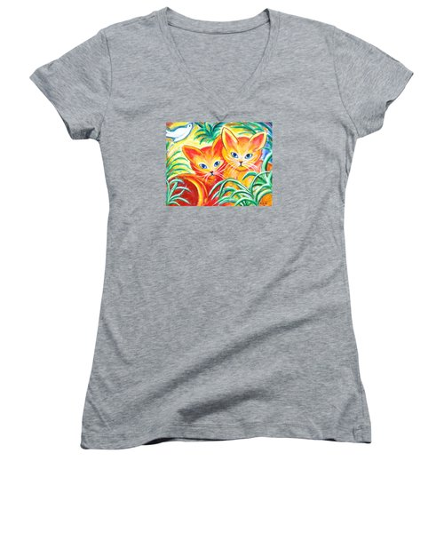 Two Cats Women's V-Neck T-Shirt