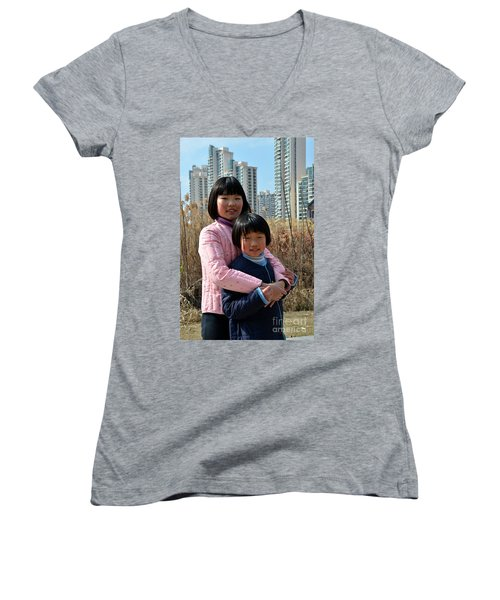 Two Chinese Teen Sisters Hug  And Embrace Shanghai China Women's V-Neck T-Shirt