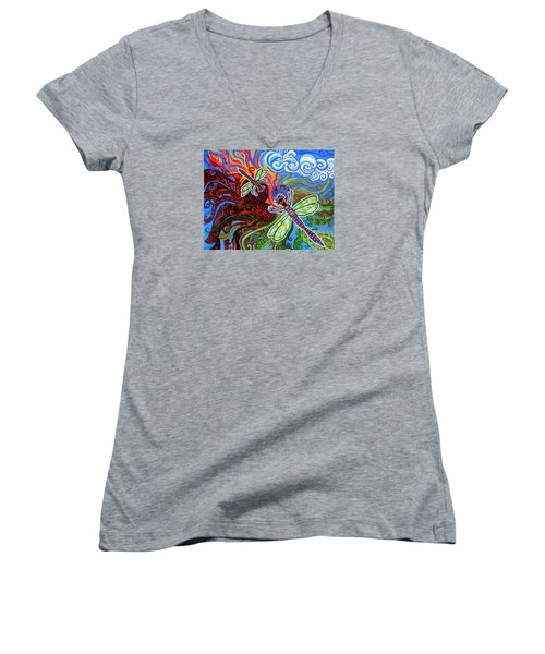 Two Dragonflies Women's V-Neck T-Shirt (Junior Cut) by Genevieve Esson