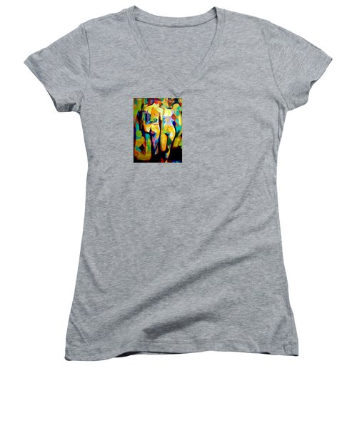 Women's V-Neck T-Shirt (Junior Cut) featuring the painting Two Nudes by Helena Wierzbicki
