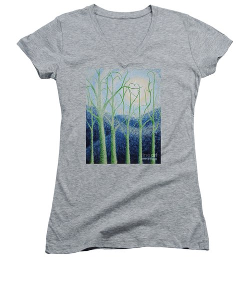 Women's V-Neck T-Shirt (Junior Cut) featuring the painting Two Hearts by Holly Carmichael