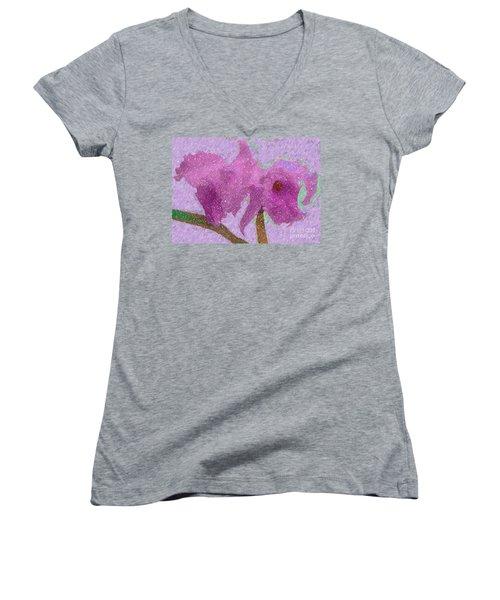 Two Hothouse Beauties Women's V-Neck T-Shirt (Junior Cut) by Barbie Corbett-Newmin