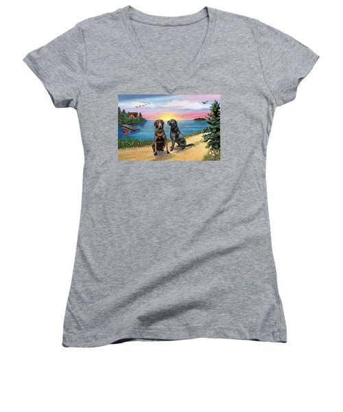 Two Labs At The Lake Women's V-Neck