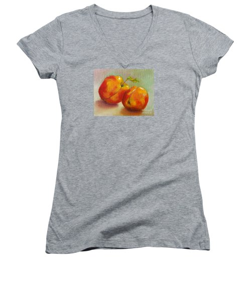 Two Peaches Women's V-Neck T-Shirt (Junior Cut) by Michelle Abrams