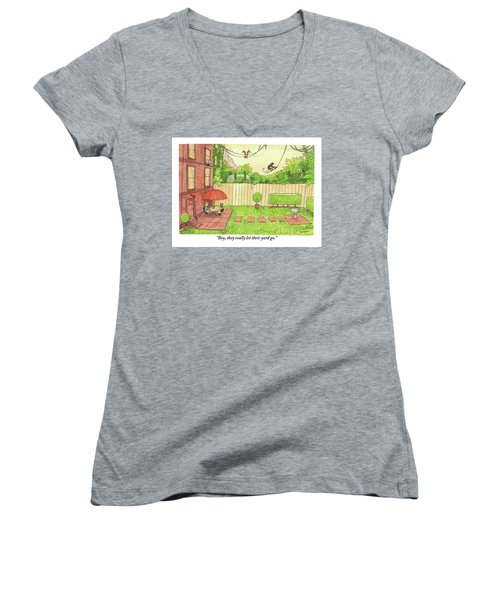 Two People Sitting On Their Back Patio Women's V-Neck