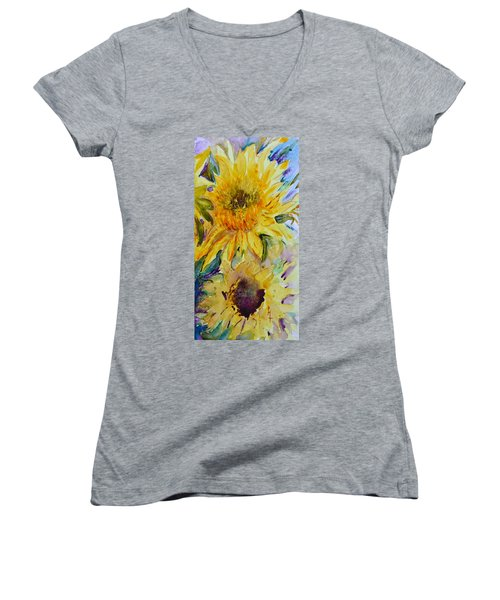 Two Sunflowers Women's V-Neck (Athletic Fit)