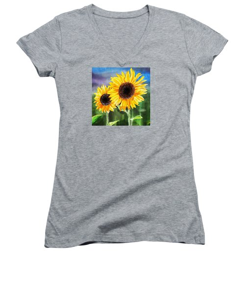 Women's V-Neck T-Shirt featuring the painting Two Sunflowers by Irina Sztukowski