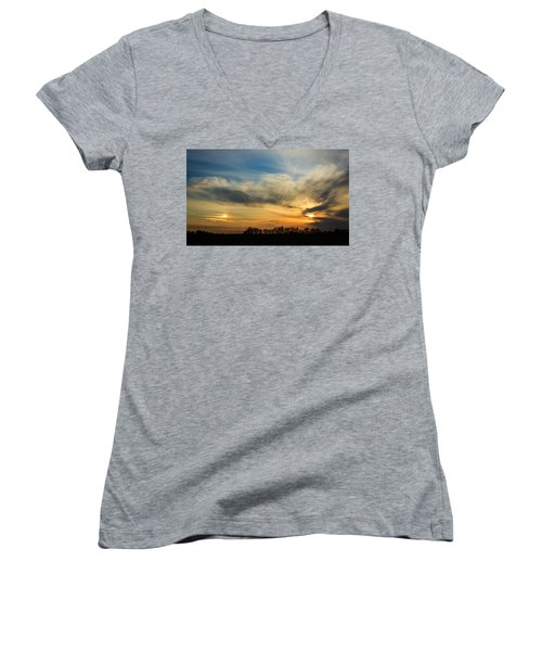 Women's V-Neck T-Shirt (Junior Cut) featuring the photograph Two Suns Over Kentucky by Peta Thames