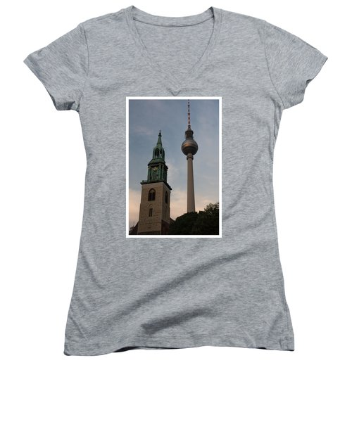 Two Towers In Berlin Women's V-Neck (Athletic Fit)