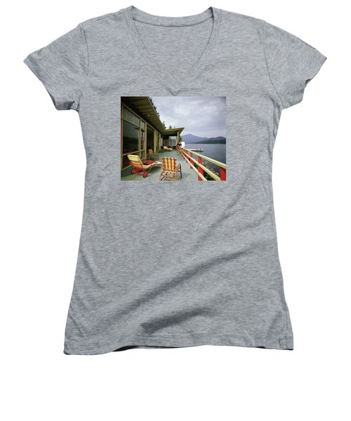 Two Women On The Deck Of A House On A Lake Women's V-Neck