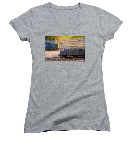 Women's V-Neck T-Shirt (Junior Cut) featuring the photograph Two Yellow Blue British Rail Model Railway Train Engines by Imran Ahmed