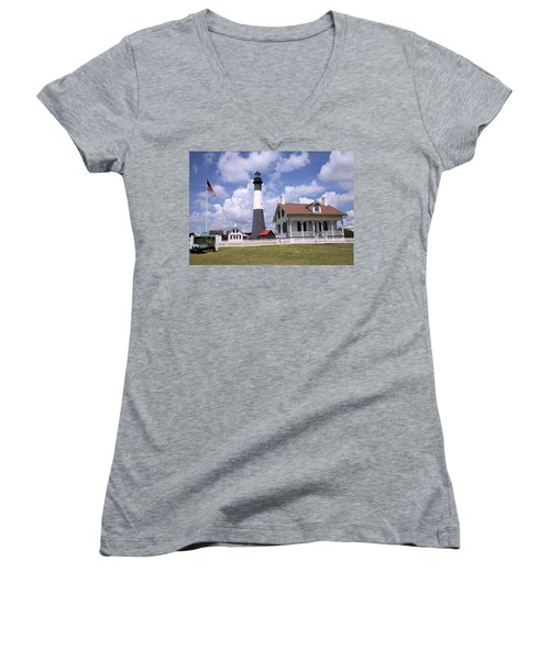 Women's V-Neck T-Shirt (Junior Cut) featuring the photograph Tybee Island Light by Gordon Elwell
