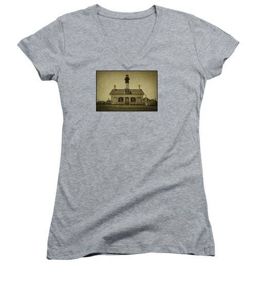 Tybee Lighthouse Women's V-Neck T-Shirt (Junior Cut) by Priscilla Burgers