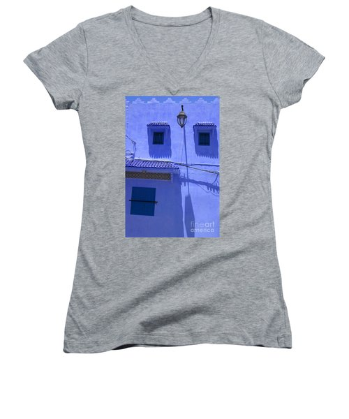Women's V-Neck T-Shirt (Junior Cut) featuring the photograph Typical Blue Facade In The Medina Of Asilah On Northwest Tip Of Atlantic Coast Of Morocco by Ralph A  Ledergerber-Photography