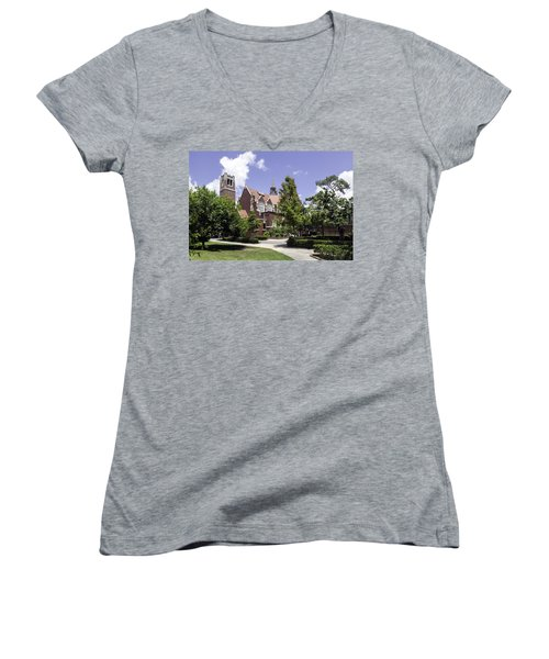 Uf University Auditorium And Century Tower Women's V-Neck T-Shirt
