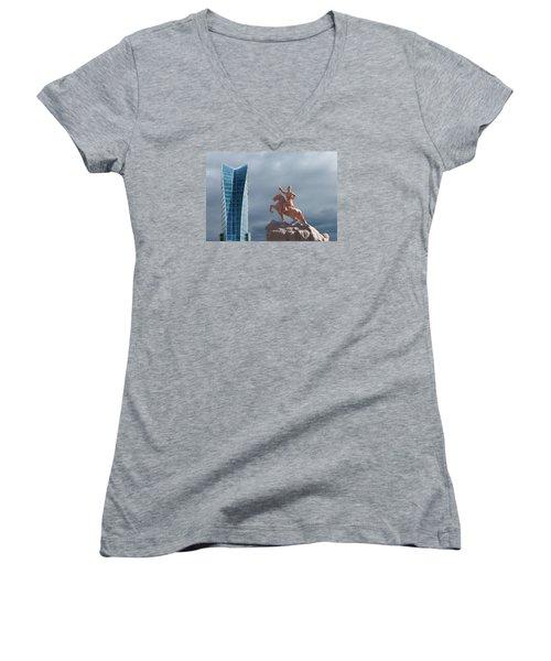 Ulaanbaatar Women's V-Neck T-Shirt (Junior Cut) by Alan Toepfer