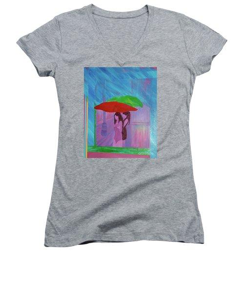 Women's V-Neck T-Shirt (Junior Cut) featuring the painting Umbrella Girls by First Star Art