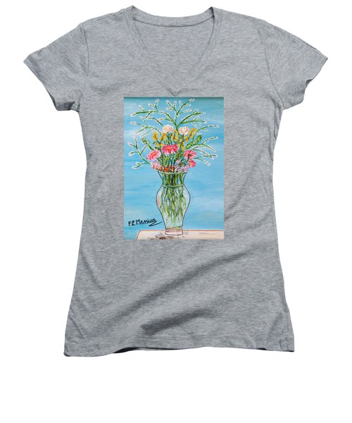 Women's V-Neck T-Shirt (Junior Cut) featuring the painting Un Segno by Loredana Messina