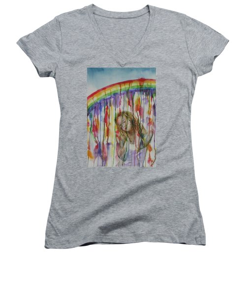 Women's V-Neck T-Shirt (Junior Cut) featuring the painting Under A Crying Rainbow by Anna Ruzsan