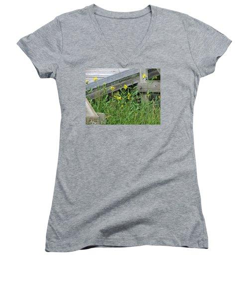 Under The Boardwalk Women's V-Neck T-Shirt (Junior Cut) by Laurel Powell