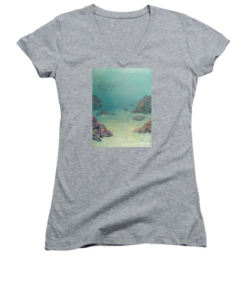 Under The Sea Women's V-Neck T-Shirt (Junior Cut) by Pamela  Meredith