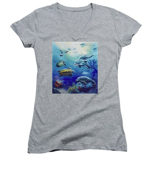 Under Water Antics Women's V-Neck