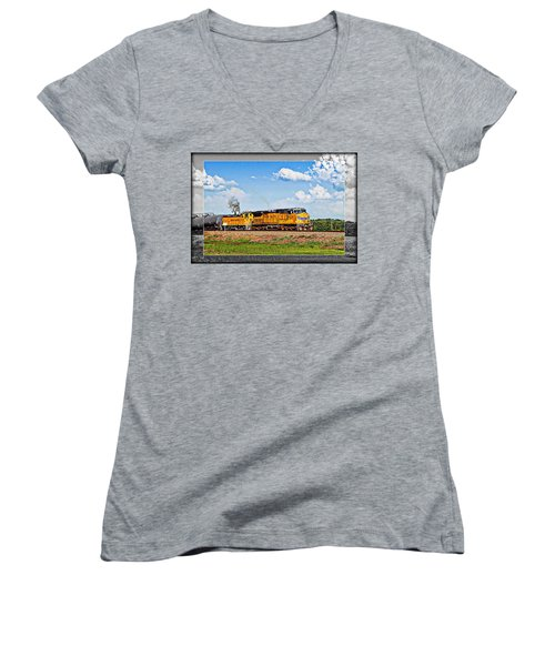 Union Pacific Railroad 2 Women's V-Neck T-Shirt (Junior Cut)