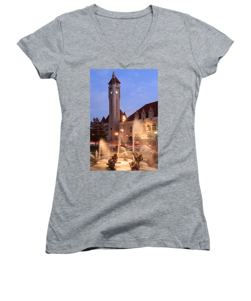 Union Station In Twilight Women's V-Neck (Athletic Fit)
