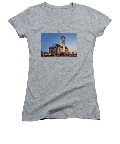 Union Station  Women's V-Neck T-Shirt (Junior Cut) by Brian Jannsen