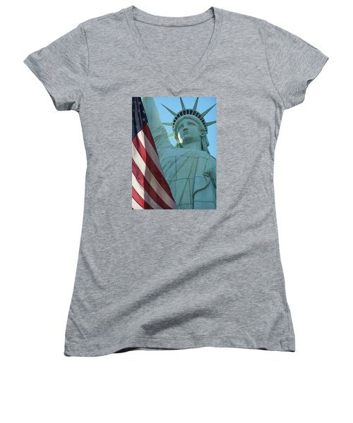 United States Of America Women's V-Neck T-Shirt (Junior Cut) by Jewels Blake Hamrick