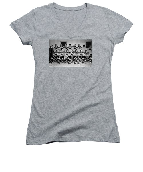 University Of Michigan Hockey Team 1947 Women's V-Neck T-Shirt (Junior Cut) by Mountain Dreams