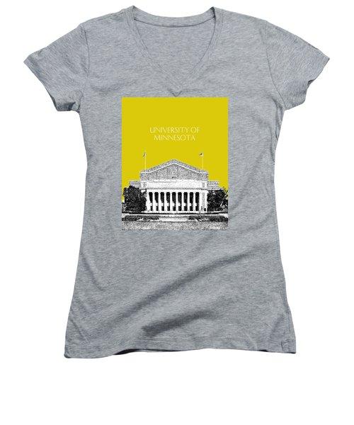 University Of Minnesota 2 - Northrop Auditorium - Mustard Yellow Women's V-Neck (Athletic Fit)