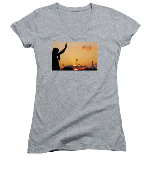 Cemetery Sunset Women's V-Neck T-Shirt