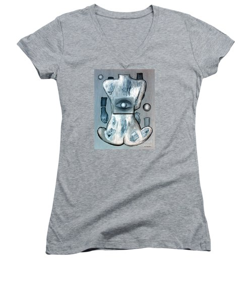 Women's V-Neck T-Shirt (Junior Cut) featuring the painting Listen Via Your Eyes by Fei A