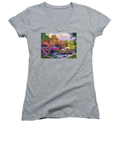 Women's V-Neck T-Shirt (Junior Cut) featuring the photograph Light Palace by Jan Patrik Krasny
