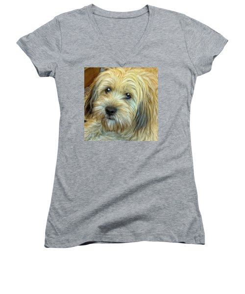 Women's V-Neck T-Shirt (Junior Cut) featuring the painting Chewy by Michael Pickett
