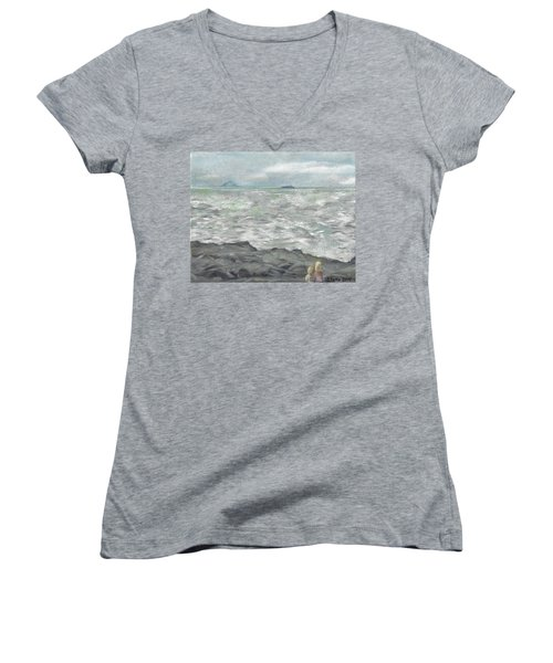 Untitled Seascape Women's V-Neck (Athletic Fit)