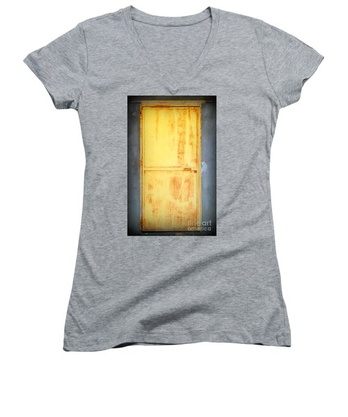 Women's V-Neck T-Shirt (Junior Cut) featuring the photograph Unused Door by Clare Bevan