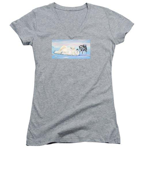 Unusual Buddies  Must Open Women's V-Neck T-Shirt (Junior Cut) by Phyllis Kaltenbach