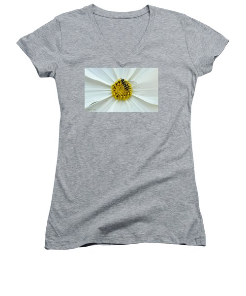 Up Close With The Bee And The Cosmo Women's V-Neck T-Shirt (Junior Cut) by Verana Stark