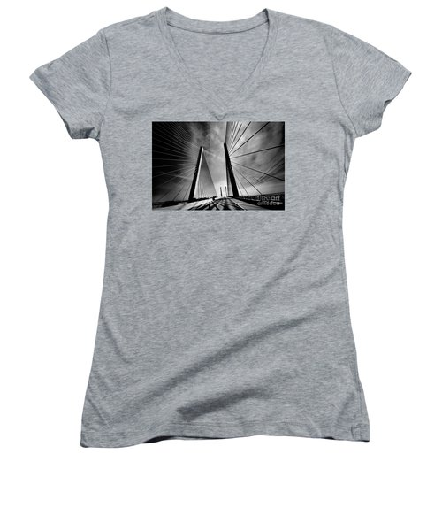Women's V-Neck T-Shirt (Junior Cut) featuring the photograph Up N Over by Robert McCubbin