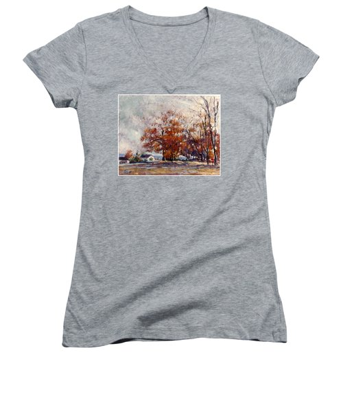 Women's V-Neck T-Shirt (Junior Cut) featuring the painting Up State Ny - Nyack by Walter Casaravilla
