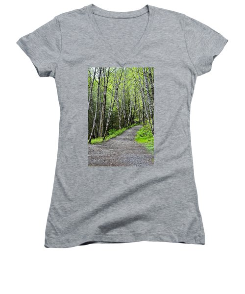 Women's V-Neck T-Shirt (Junior Cut) featuring the photograph Up The Trail by Cathy Mahnke