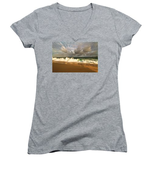 Women's V-Neck T-Shirt (Junior Cut) featuring the photograph Upcoming Tropical Storm by Eti Reid