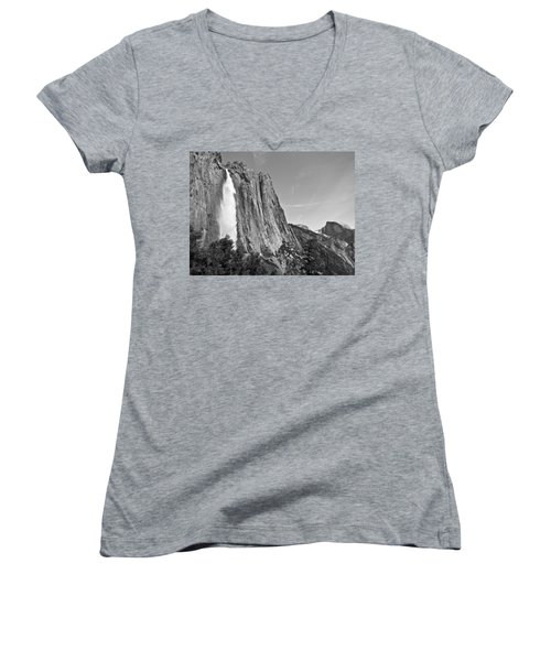 Upper Yosemite Fall With Half Dome Women's V-Neck